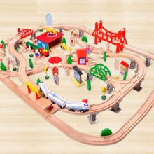 130pcs Early Childhood Pupils Educational Toys Wooden Small Train Track Set Wooden Toys(China)