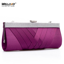 Women Day Clutch Ladies Purse Chain Handbags Women Evening Bag Purple Bride Wedding Party Hand Bags Clutches bolsas mujer XA187C(China)