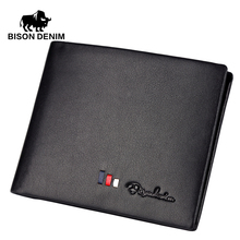 BISON DENIM Italian Designer men Wallets leather genuine wallet for men Black business casual ID card / card holder N4382(China)