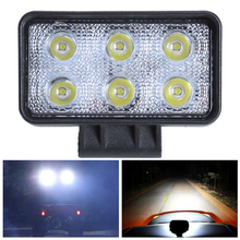 18w 6000K Rectangle Offroad Driving Fog Headlight Spot LED Work Lights Engineering Overhaul Lights Searchlight Cross Country