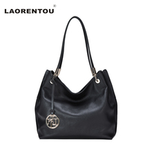 LAORENTOU Brand Genuine Cow Leather Women Casual Tote Bags Leather Women's Handbags Made Of Genuine Leather Bag Big Capacity N46