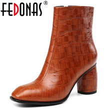 FEDONAS Top Quality Women Genuine Leather 자 Shoes Woman (High) 저 (힐 숏 마틴 화 암 Autumn Winter Basic Boots(China)