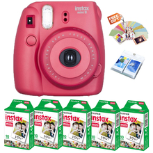 Original Fujifilm Instax Mini 8 Film Camera Raspberry + 50 Prints Fuji Instant Mini White Photos + Free Wall Album / Stickers
