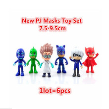 6pcs/set Pj Masks Action Figure Characters Catboy Owlette Gekko Cloak Toys Doll 8-9cm Boy Birthday Gift Plastic Dolls