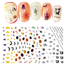 Halloween Design Top Quality Beauty Nail Art Stickers Adhesive Transfer 3D Skull Pumpkin Decorations Decals For Nails Tips(China)