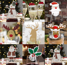 10pcs/pack Red Card Christmas Hat Accessories Fun Glass Decorations Card Stand Santa Hats Holder Dinner Table Party Decor V4025