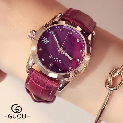 Guou Luxury Brand Watch Women Genuine Leather Strap Womans Casual Quartz Watches Fashion rhinestone Wristwatch Relogio Female<br>