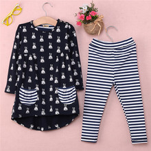 Fashion 2pcs Children Set Cute Kids Cartoon Rabbit Print Pocket Dress and Striped Leggings New Girls Clothes