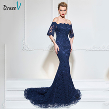 Dressv navy blue long evening dress sexy scalloped mermaid half sleeves sweep train formal party dress lace evening dresses(China)