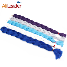 AliLeader African Braiding Hair Kanekalon Jumbo Braid Pink Blue Hair For Crochet Braids 1-10pcs 36 Inch Synthetic Hair Extension(China)
