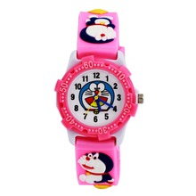 Lovely Anaglyph 3 d Cartoon Doraemon Watch Doraemon Silica Gel With Children Watch Waterproof Plastic shell fashion pink