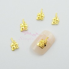 100PCS/LOT Halloween Hollow House Gold Plated Alloy Charms Handcrafts Jewelry Making 3D Nail Art DIY Design Decorations Supplies(China)