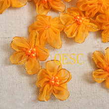 small 4cm yellow organza flower patch fascinator hair accessory Girl's headband hand-made flower Corsage Dress clothes