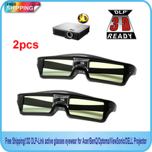 Free Shipping!! 2014new 2pcs 144Hz 3D IR Active Shutter Glasses For BenQ W1070 W700 W710ST DLP-Link Projector(China)