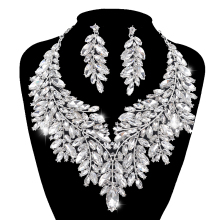 Necklace-Sets Wedding-Jewelry-Sets Rhinestone Dubai-Style Christmas-Gift Bridal-Silver