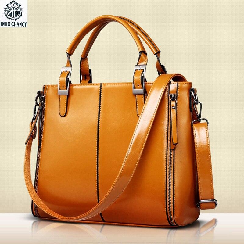INHO CHANCY Oil Wax Leather Women Handbag European Cross Tassel Zipper Famous Brand Female Saffiano Shoulder Bag Ladies handbag<br>