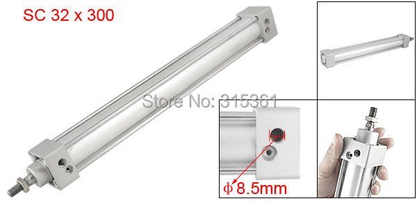 Free Shipping 300mm Stroke 32mm Bore Single Screwed Piston Rod 32 x 300 Dual Action Pneumatic Standard Cylinder SC32-300<br>