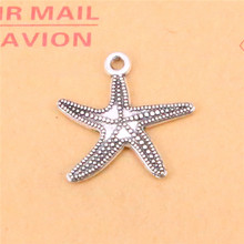 12pcs Tibetan Silver Plated marine starfish Charms Pendants for Jewelry Making DIY Handmade Craft 25*26mm