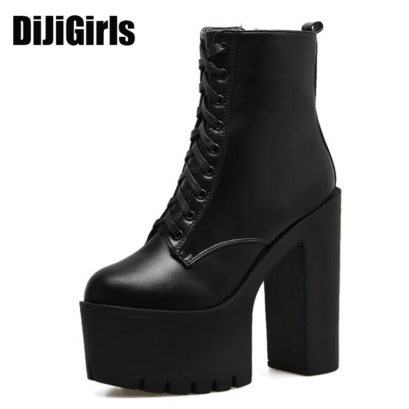 Platform Boots 2017 Fashion Thick Heel Ankle Boots Women High Heels Autumn Winter Woman Shoes Lace Up boots platform shoes X596<br>