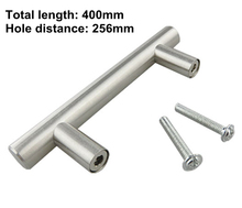 Kitchen Cabinet Door or Drawer Stainless Steel Pull T Bar Handle Knob (Length 400mm, hole center 256mm)
