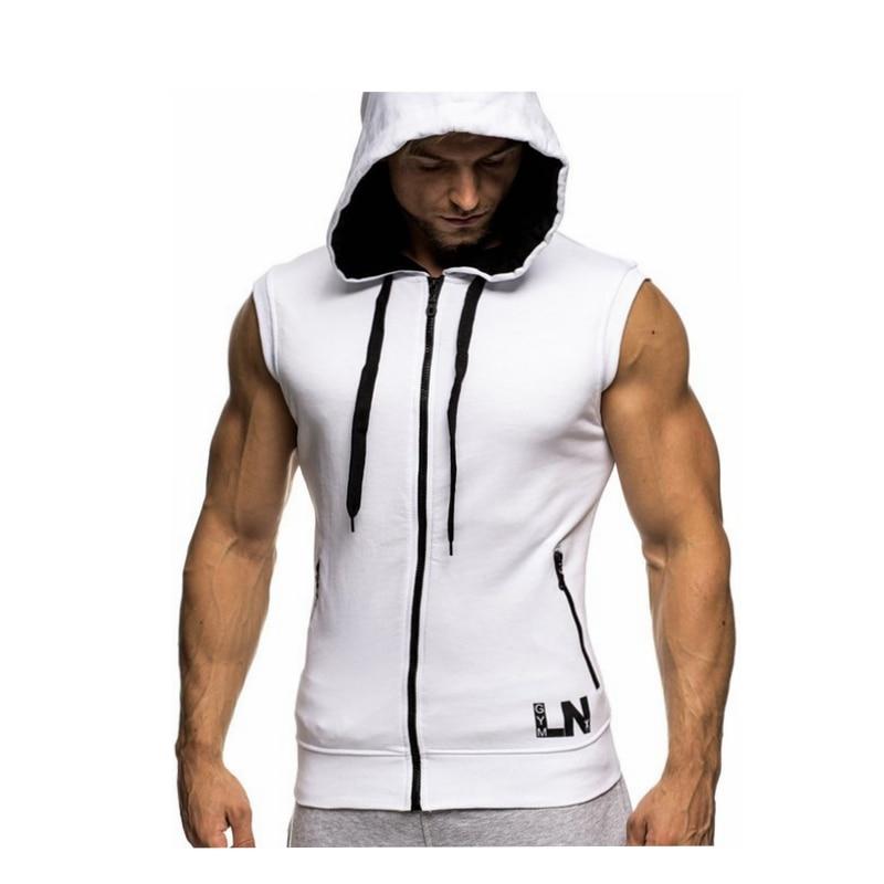 Male Bodybuilding Hoodies Fitness Clothes Hoody Cotton Hoodie Men Sweatshirts Men's Sleeveless Tank Tops Casual Vest 13