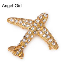 Angel Girl New Trendy Design Plane Brooch Pin Champagne Gold Color Jewelry Austrian Crystal Brooches Wholesale brooches
