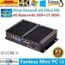 High Performance Mini PC Windows 8.1 4GB Ram 64GB SSD 1TB HDD Intel Core i3 4010U HTPC Tiny PC 4K HD Kodi DHL Free Shipping(China)