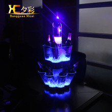 Plastic LED Ice Bucket Three Layer Champagne Holder Bar Club Wine Cooler Color Changing Whiskey Chiller For Party Resturant