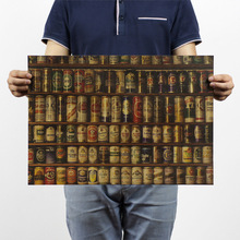 Beer encyclopedia of graphic evolutionary history Bar counter adornment kitchen retro vintage poster paper posters wall sticker