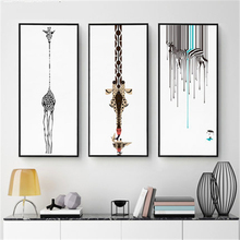 Black Zebra Giraffe White Based Hanging Canvas Wall Drawing Abstract Nordic Art Paper Pretty Mural Poster Cafe Corridor Ornament