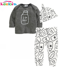 Keelorn Baby Rompers Autumn Winter Baby boy clothes Long Sleeve Milk Bottle Printed Tops+Pants+Hat 3pcs Kids Baby girl clothes