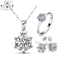 Top Quality Genuine 925 Sterling Silver Classic 1 Carat Clear CZ Round Necklace Earrings Ring Wedding & Engagement Jewelry Sets