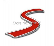 Auto car metal Chrome S Logo Red Fit for Mini Cooper S Rear Trunk Emblem Decal Badge Sticker