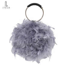 Lydian Womens Bags Brand Luxury 2018 Ostrich Feather Handbag Metal Purse Fashion Clutch Bag Chain Vintage Totes Schoudertas Dame(China)
