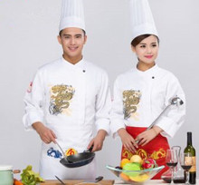 long sleeve chef uniform with dragon chinese restaurant uniforms chef cook uniforms cook clothes autumn winter cook clothing
