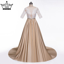 Sexy Sheer Half Sleeve Khaki Evening Dresses 2017 Lace Appliques Covered Button Sequins Prom Dress Party Robe De Soiree