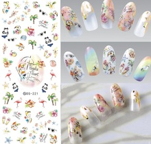 DIY New Makeup Design Water Transfer Nails Art Sticker paradise resort Holiday Nail Wraps Sticker Watermark Fingernails Decals(China)
