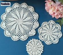 Creative DIY cotton placemat cup coaster mug holder dining kitchen drink table place mat cloth lace Crochet Christmas doily pad(China)