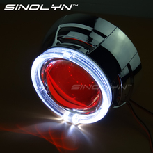 Car Styling Automobiles 3.0 inch Pro Fiber Optics LED Angel Eyes Halo Devil Eyes HID Bi xenon Lens Headlight Projector H1 H4 H7