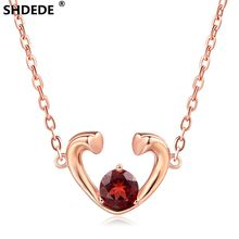 SHDEDE 925 Sterling Silver Heart Necklace Pendant inlaid with natural garnet 18K Rose Gold fashion boutique Various Gemstones(China)