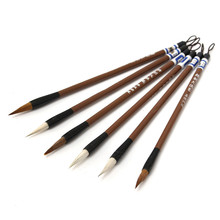 6PCS/pack Newest Brown White Weasel Wool Hair Chinese Japanese Calligraphy Brush Pen Set Art for Office School Darwing Supplies(China)