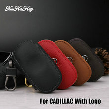 Kukakey Fashion Leather Key Case Bag Pouch Purse Wallets Cover Car Logo Keychain For Cadillac Escalade CTS SRX Protective Shell