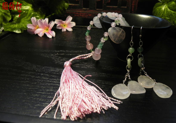 Pink crystal peach blossom 925 fine silver jewelry accessory bracelet and earrings<br>