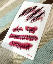 Halloween Bloody Bleeding Scary Scars Waterproof Temporary Tattoo Stickers 10.5*6 cm Scar blood Flash tattoos for men girl