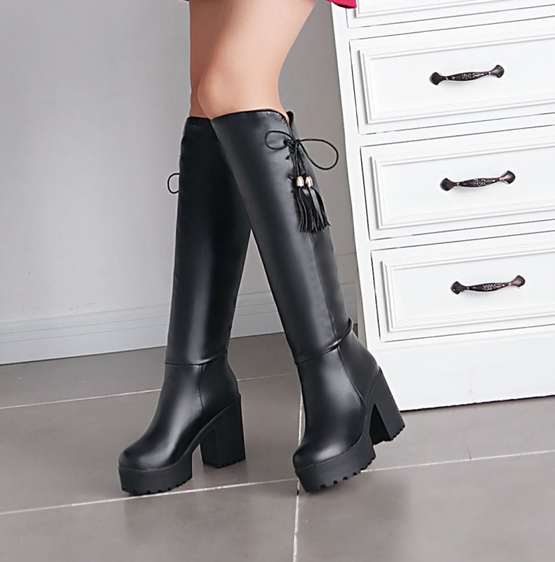 Plus size 34 to 43 women high quality pu leather over knee boot lady waterproof platform shoes female casual autumn shoes<br><br>Aliexpress