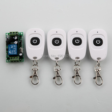 DC 12 V 1ch RF 315mhz wireless remote control switch 1 X receiver &4 X transmitter with one button(China)