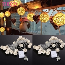 4.5m 20 3cm Wicker Rattan Ball Socket String Light Christmas Lamp Party 8 Mode #S018Y# High Quality