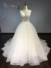 Buy Amazing V neck Wedding Dress 2018 Backless Pearl Beading Sparkling Bridal Gown Court Train Custom Size Gown for $269.50 in AliExpress store