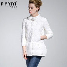 In the winter of 2016 new women's bow in the long white eiderdown jacket winter coat collar