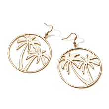LWONG Gold Color Palm Tree Large Circle Earrings for Women Tropical Jewelry Holiday Earrings Gifts(China)
